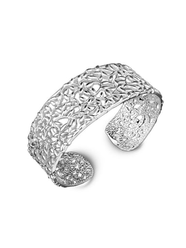 Fashion Hollow Copper Silver Plated Opening Bangle