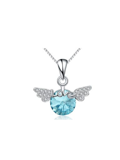 Angel Wings Blue Pink Crystal Delicate Pendant