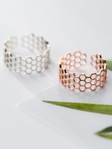 925 Sterling Silver With 14k Rose Gold Plated Fashion honeycomb Band Rings