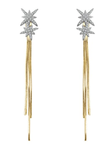 Star snowflake long tassel gold snake bone chain two Earrings