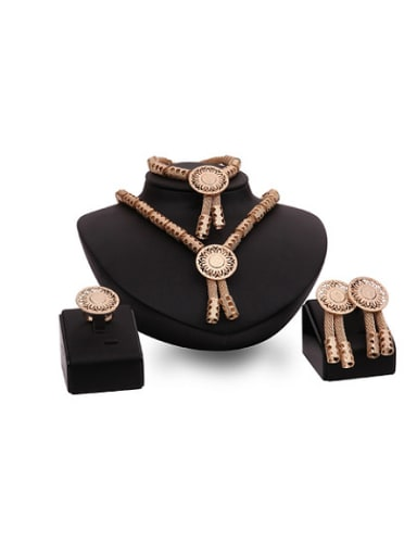 Alloy Imitation-gold Plated Vintage style Hollow Round Four Pieces Jewelry Set