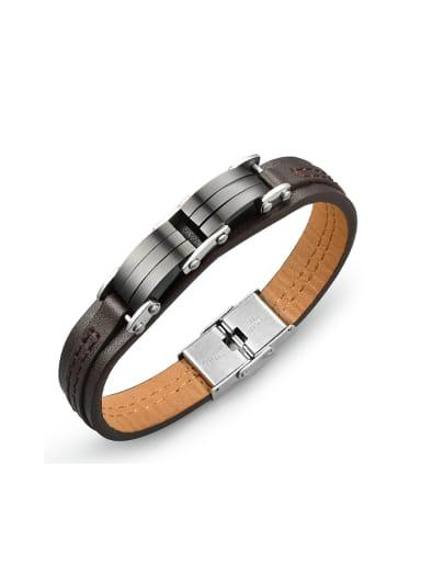 Simple Brown Artificial Leather Titanium Men Bracelet