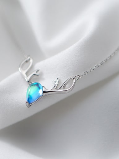 Akk-match Blue Antler Shaped Crystal Silver Necklace