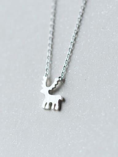 Women Lovely Deer Shaped S925 Silver Necklace