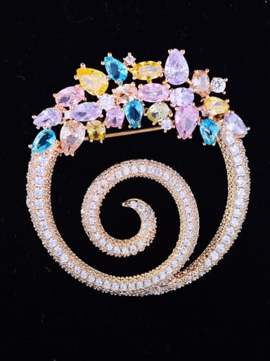 Copper With Cubic Zirconia Luxury Round Brooches