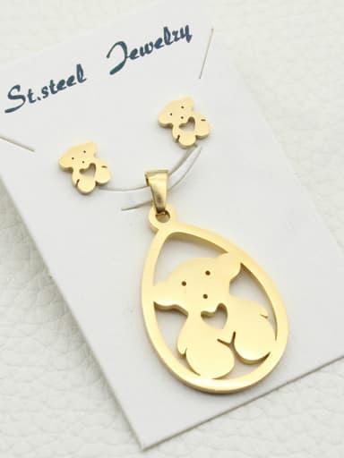 Teddy Bear Stainless Steel Earring Pendant Set