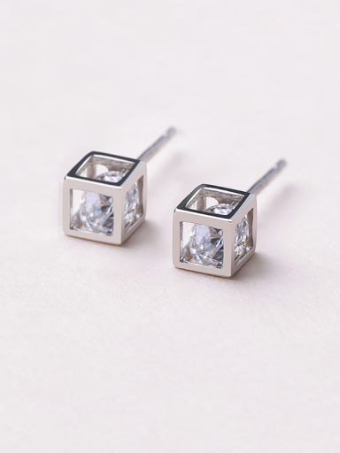 925 Silver Temperament Square stud Earring