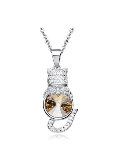 Fashion Swarovski Crystal Shiny Zirconias Kitten 925 Silver Necklace