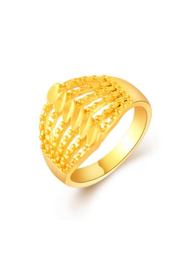 Exquisite 24K Gold Plated Hollow Geometric Shaped Ring