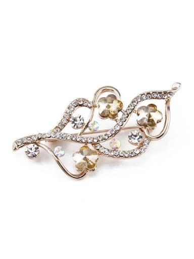 Rose Gold Flower Crystals Brooch