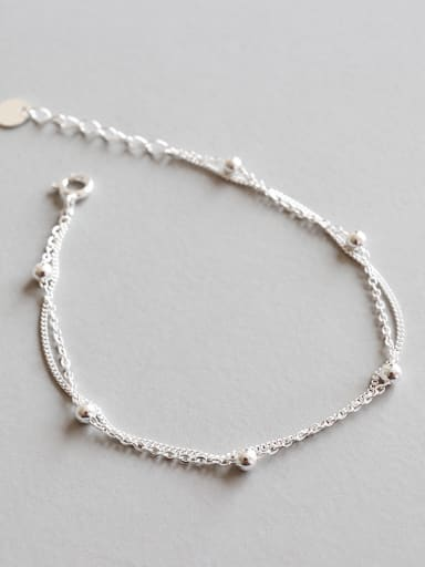 Sterling Silver personality minimalist beads chain double Bracelet