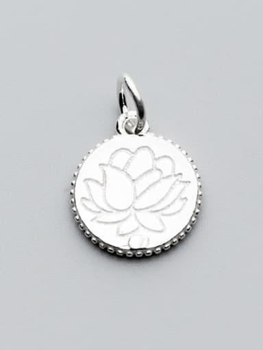 925 Sterling Silver With Silver Plated Delicate lotus flower Round Charms