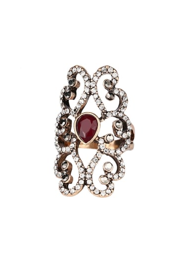 Retro style Hollow Crystals Resin stone Alloy Ring