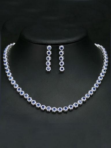Luxury Shine  High Quality Zircon Round Necklace Earrings 2 Piece jewelry set
