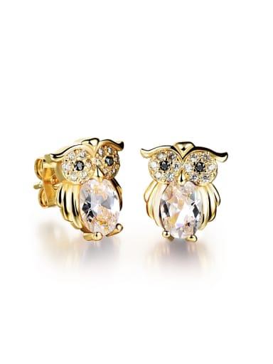 Fashion Little Owl Zircon Stud Earrings