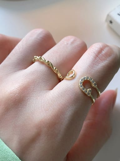 925 Sterling Silver With Gold Plated Fashion Geometric Free Size  Rings