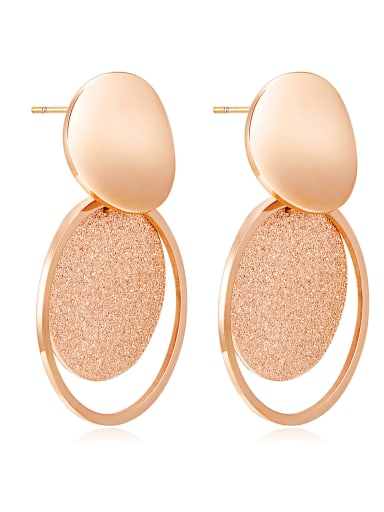 Stainless Steel With Rose Gold Plated Trendy frosted Round Chandelier Earrings