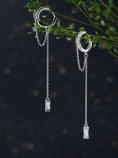 925 Sterling Silver With Silver Plated Personality tassels Clip On Earrings