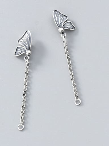 Thai Silver With Silver Plated Vintage Bowknot Earrings
