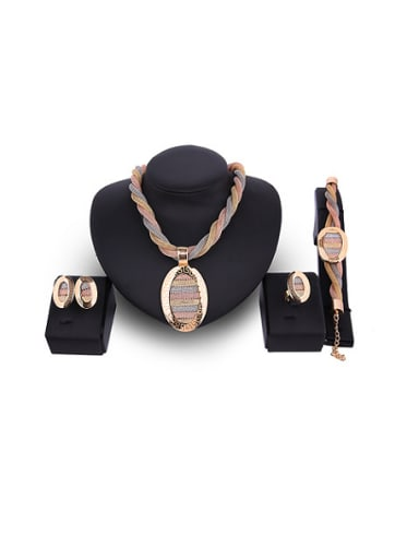 Alloy Imitation-gold Plated Fashion Oval-shaped Hollow Grid Four Pieces Jewelry Set