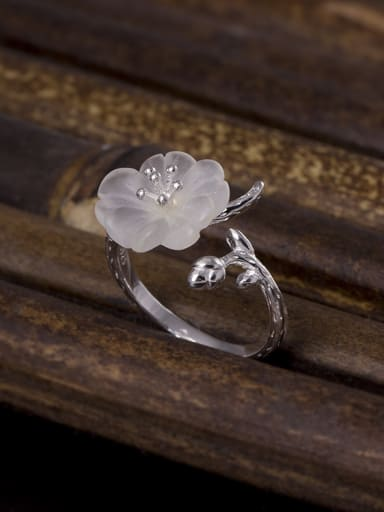 Fashion Crystal Flower Opening Ring