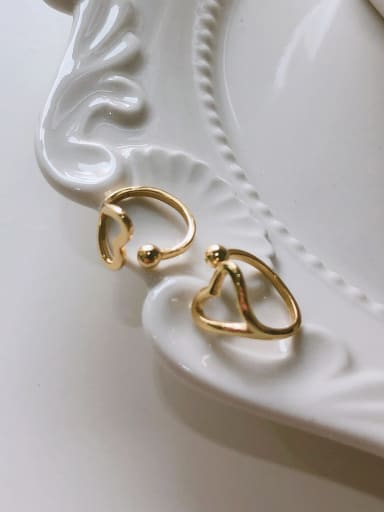 925 Sterling Silver With Gold Plated Simplistic Heart Earless Ear Clip