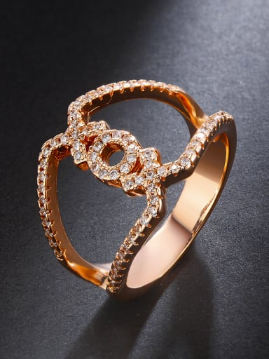 A simple double-layer micro AAA zircon letter ring
