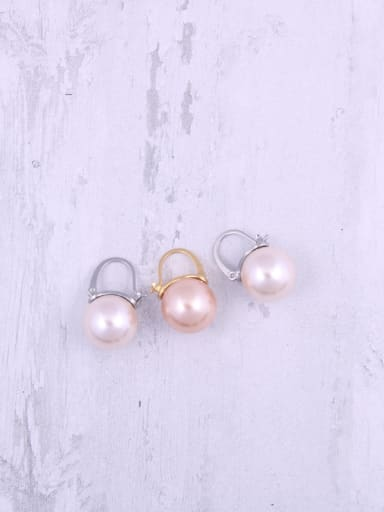 Titanium With Artificial Pearl  Simplistic Round Clip On Earrings