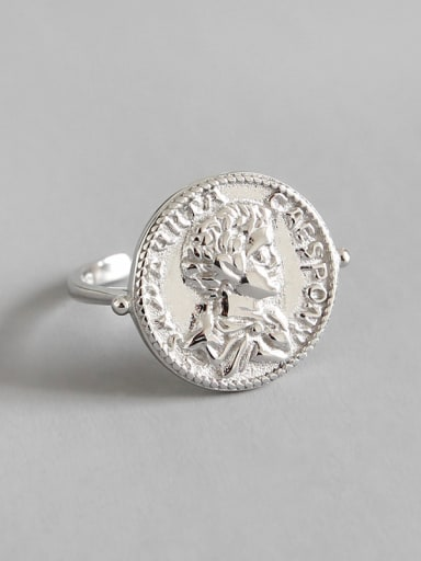 925 Sterling Silver Retro portrait geometric round coin free size ring