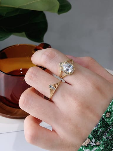 925 Sterling Silver With Gold Plated Personality Irregular Free Size Rings
