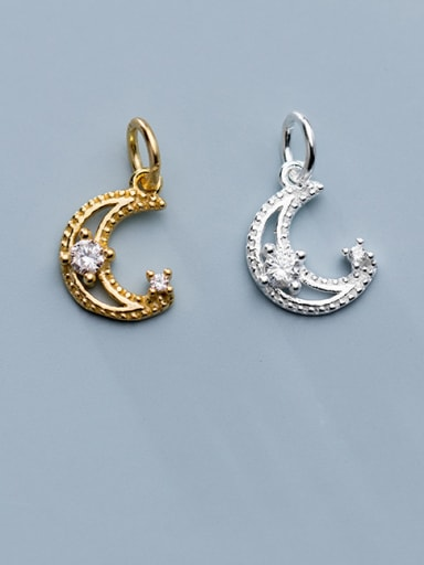 925 Sterling Silver With  Cubic Zirconia  Simplistic Moon Pendants