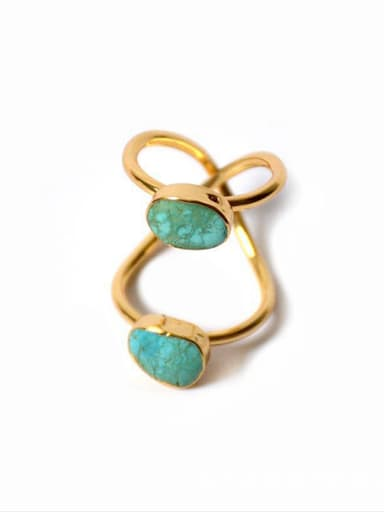 Exaggerated Two-band Turquoise Stones Ring