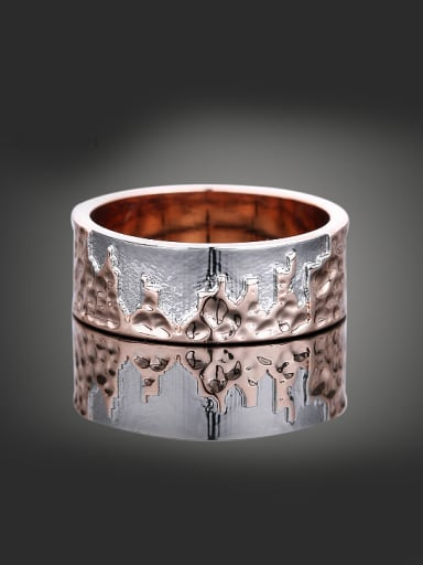 Creative Landmark Building Double Color Plated Copper Ring