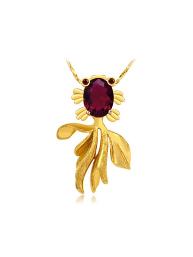 Copper Alloy 24K Gold Plated Retro style Goldfish Zircon Necklace