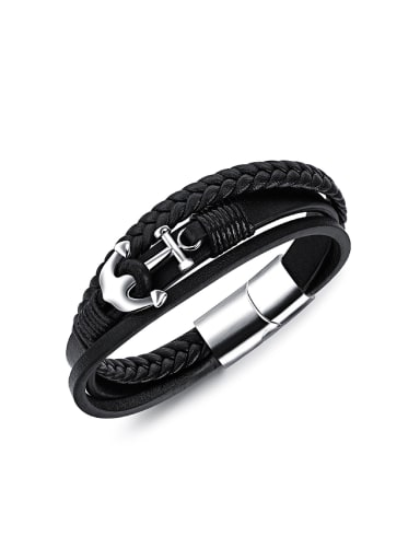 Personalized Ship Anchor Multi-band Artificial Leather Bracelet