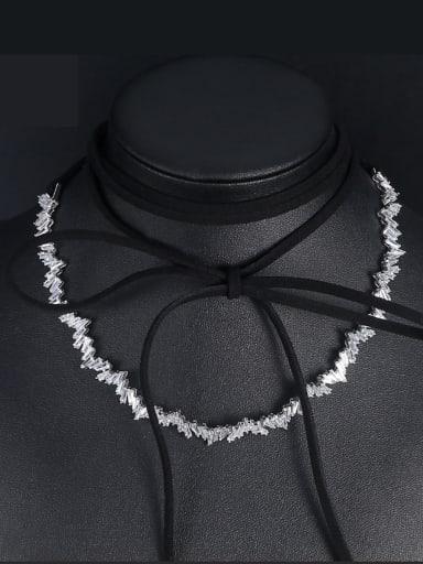 NEW Copper inlaid AAA zircon geometric telescopic Necklace