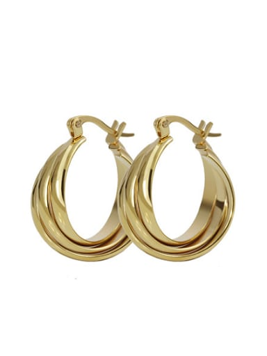 Exaggerated Three Layer Design Gold Plated Titanium Clip Earrings