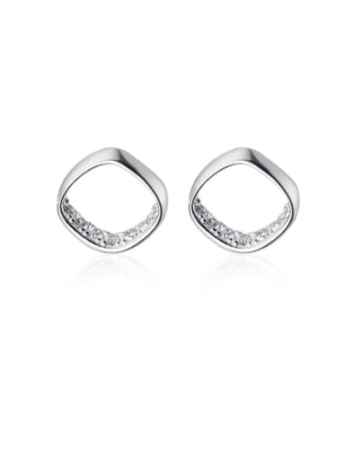 925 Sterling Silver With Cubic Zirconia  Simplistic Hollow Square Stud Earrings
