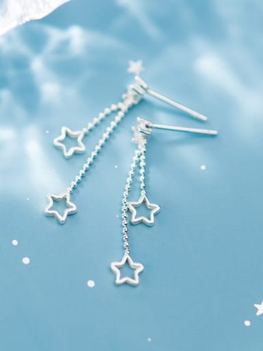 925 Sterling Silver With Platinum Plated Simplistic Star Threader Earrings