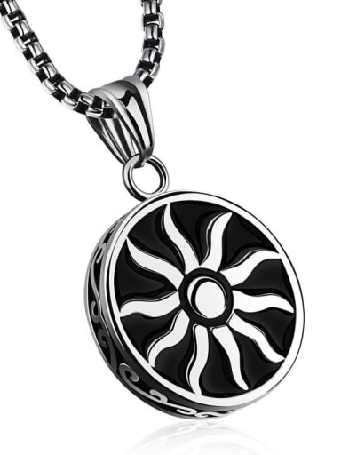 Stainless Steel With Black Gun Plated Vintage Round with sun Necklaces