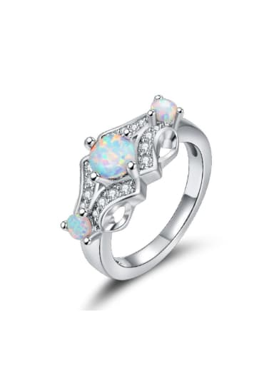 Blue Opal White Gold Plated Alloy Ring