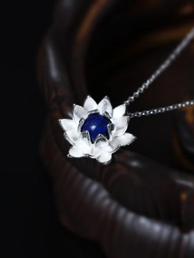 Lotus Flower Blue Stone Women Necklace