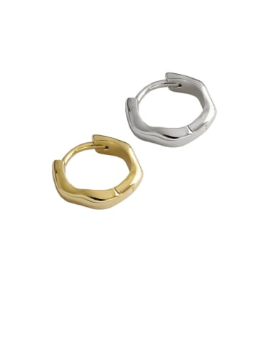 925 Sterling Silver With Gold Plated Simplistic Geometric Clip On Earrings