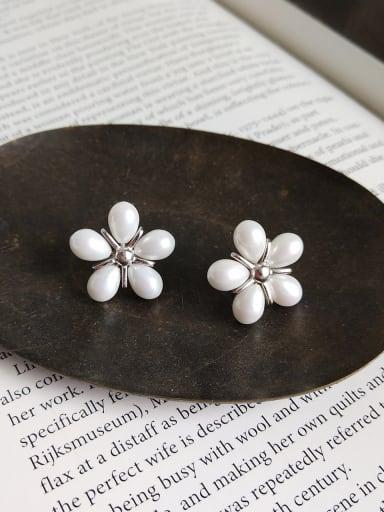 Sterling silver synthetic pearl fancy earrings