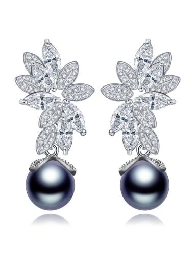 AAA zircon high-end Pearl Earrings for commuter