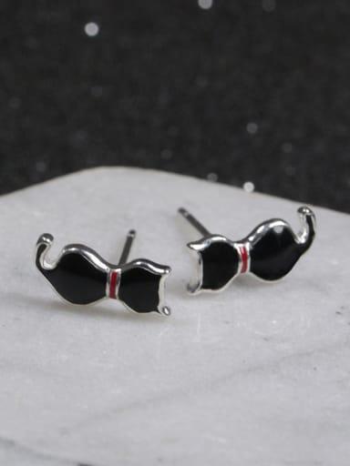 Black Little Cat Stud Earrings