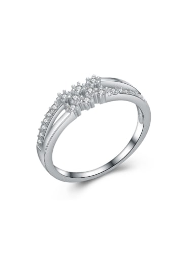 Micro Pave Zircons Platinum Plated Fashion Ring