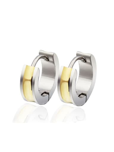 Fashionable Gold Plated Geometric Titanium Clip Earrings