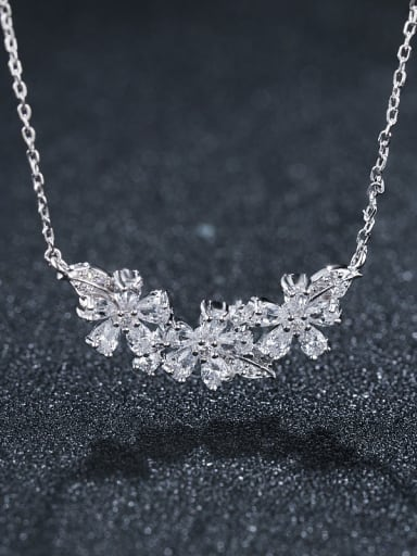 925 Sterling Silver With Platinum Plated Delicate Leaf Flower  Necklaces