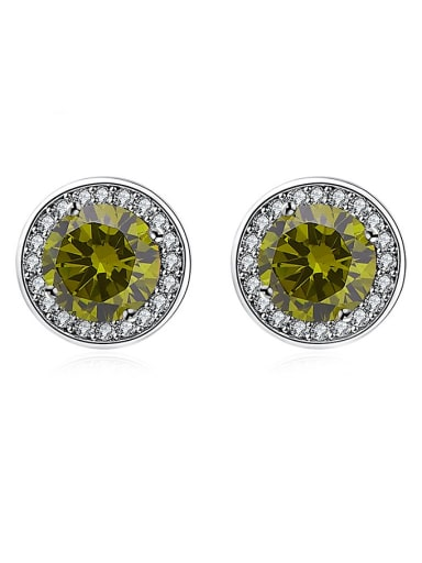 Charming 925 Silver Round Shaped Zircon Stud Earrings